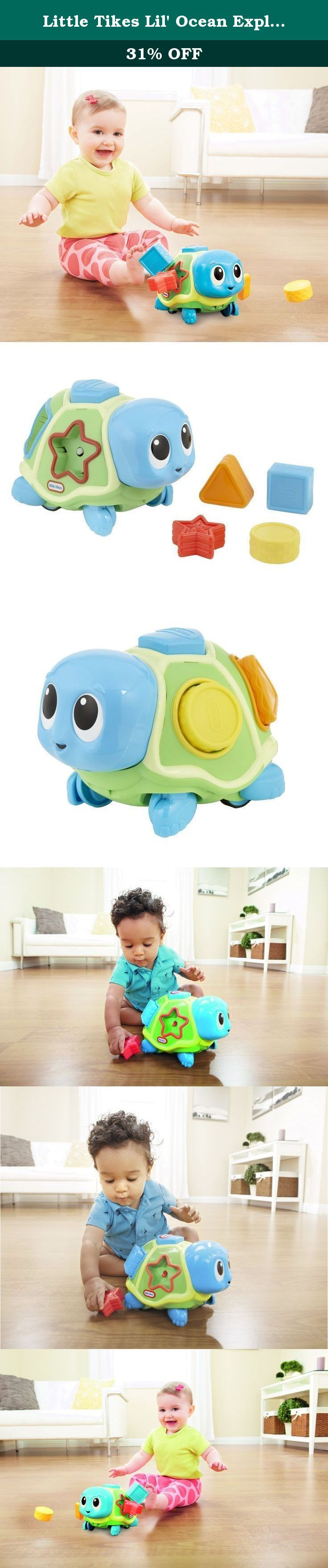 Little Tikes Lil' Ocean Explorers - Crawl 'n Pop! Turtle. A turtle twist on shape sorting! Your baby will learn about shapes and colors by placing the plastic shapes into the turtle's shell. When baby is ready to crawl, the Crawl 'n Pop! Turtle will lead the way, zigzagging along with lively music. And then, surprise! The shapes pop out of the shell for your baby to play all over again! Product Features: • Shape sorter toy with a topsey-turvy turtle surprise! • Press on turtle's head to…