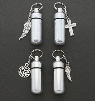 Set of 4 Memorial Funeral Ashes Holder Urn Vial Key Chains w/ Clip on Charms