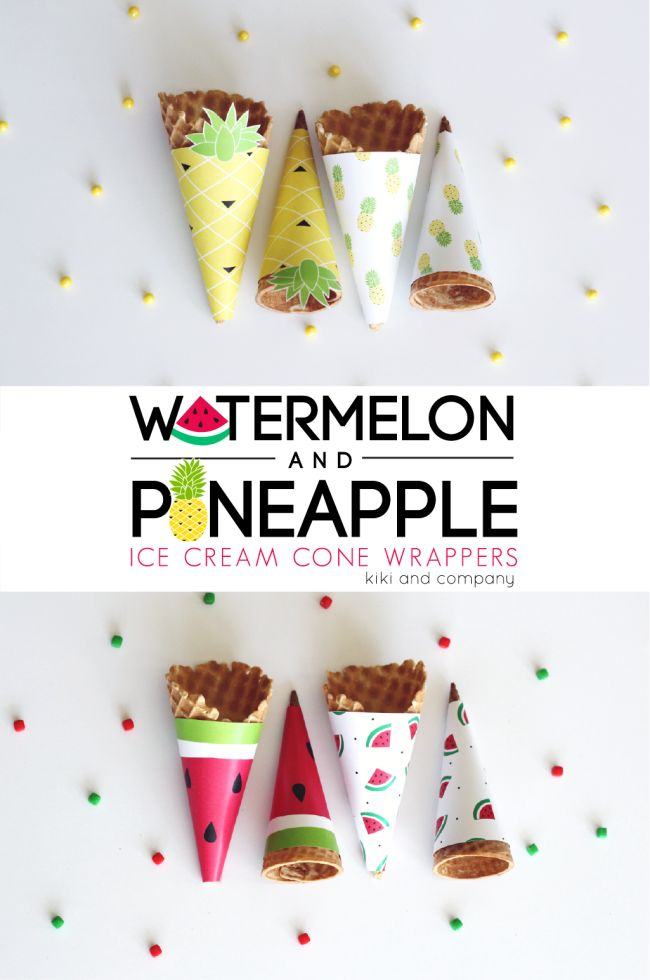 Summer Printables | Watermelon and Pineapple Ice Cream Cone Wrappers. Cute!