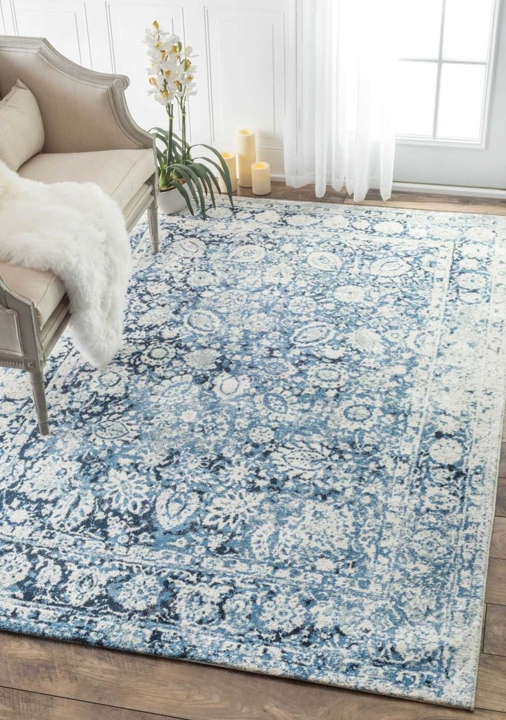 Amazon.com: Traditional Decorative Plumes Blue Area Rugs, 4 Feet by 6 Feet (4' x 6'): Kitchen & Dining