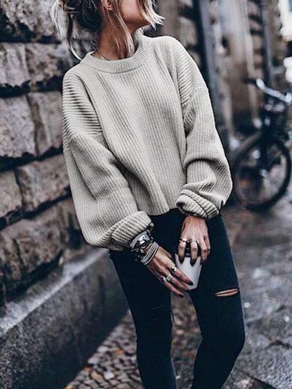 Retro Knit Bishop Solid Color Loose Sweater