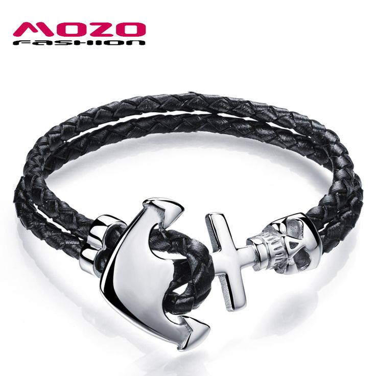 Mens Black Leather Rope Stainless Steel Anchor Skull Bracelet //Price: $14.99 & FREE Shipping // #hashtag2
