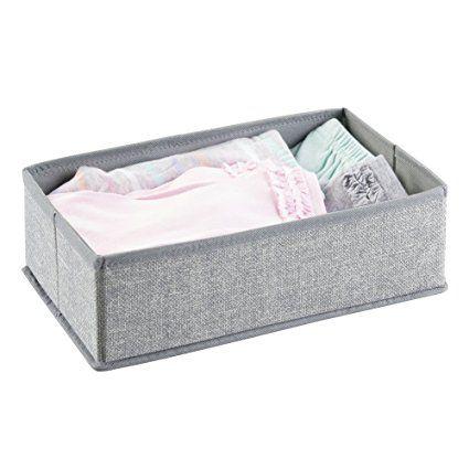 InterDesign Aldo Fabric Dresser Drawer and Closet Storage Organizer for Underwear, Socks, Bras, Tights, Leggings - Gray