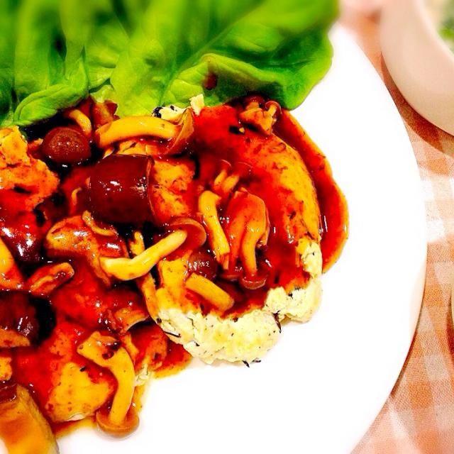 ♡2015.4.7晩ごはん♡ - 9件のもぐもぐ - ヘルシーひじき入豆腐ハンバーグ・マッシュルームスープ by mshunasharp
