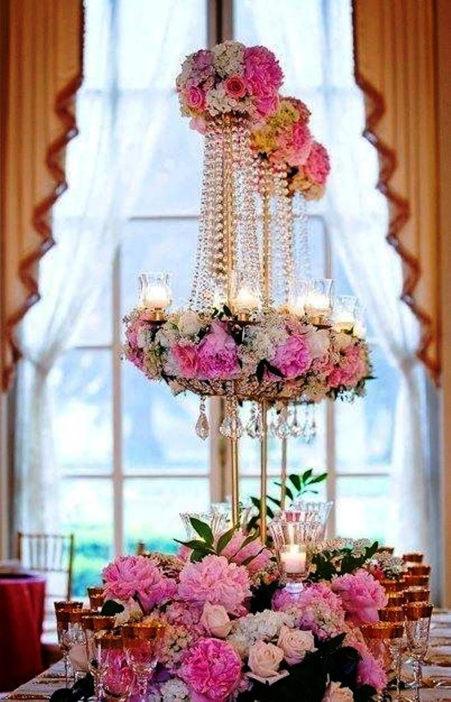Pearls and Roses hanging over the dinner table