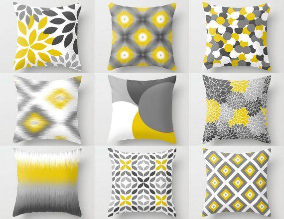 Outdoor Pillows Yellow White Grey Outdoor Home Decor Almofadas Amarelas Almofadas Coloridas Decoracao Sala Sofa Marrom