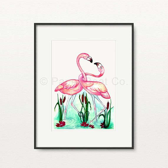 Pink in Love Flamingos  Art Print by PaperBoatCo on Etsy