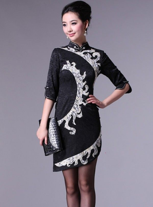 Black 3/4 Sleeve Chinese Qipao / Cheongsam Dress