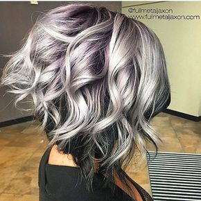 Love this color combo of deep purple and silver hair @fullmetaljaxon ✂️ | #50shadesofgrey #greyhair #curlybob #voiceofhair