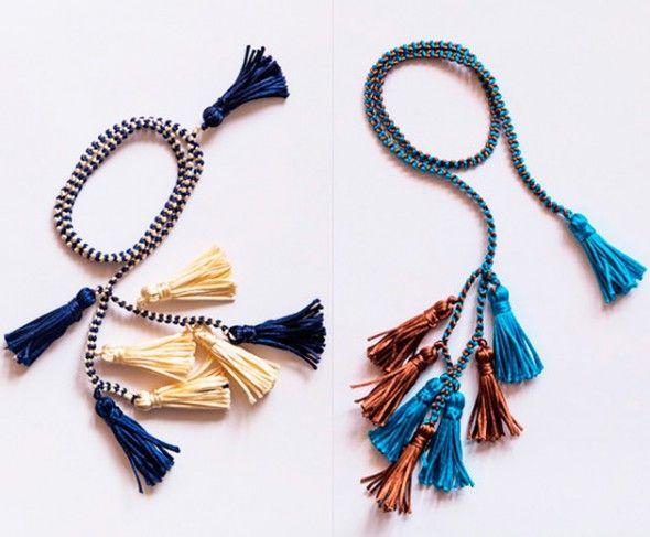 Colares que viram cintos de crochê, da Catarina Mina (R$ 79 cada)