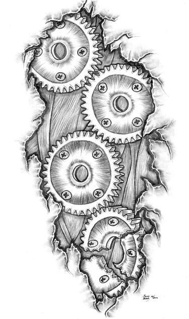 Ripped Skin Bike Gears Tattoo Design