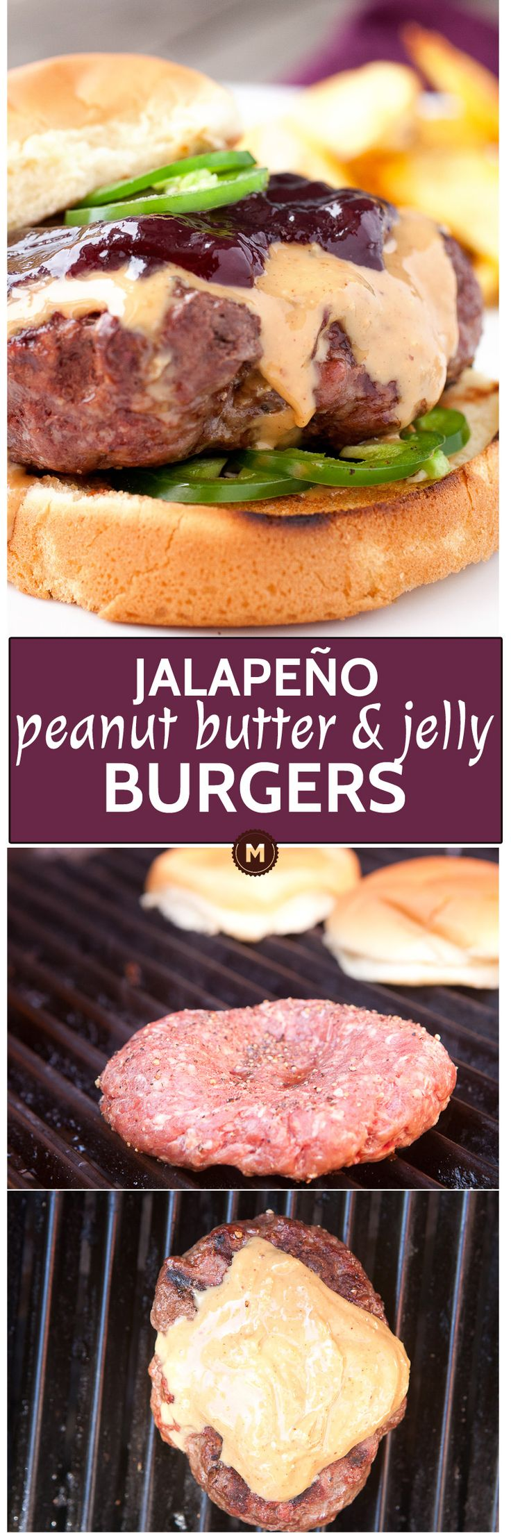 Spicy Peanut Butter & Jelly Burger: This burger topping might sound ridiculous, but I promise it works. Creamy peanut butter, sweet jelly (I like grape), and some fresh jalapenos for crunch and heat. Amazing burger and quick to make! | macheesmo.com