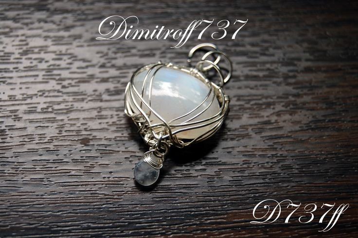 """Pendant """"Angel""""  Materials: 19.1 carat natural moonstone, high quality silver jewelry copper wire."""
