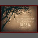 Vintage wedding invitations with strings of lights and fireflies mason jars hanging on the branches of the old tree. Cute stylish and creative wedding invitation for country weddings and garden weddings with twinkle lights deco and mason jar lighting. -- All design elements created by Jinaiji.