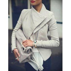 Stylish Turn-Down Collar Long Sleeve Slimming Solid Color Women's Jacket