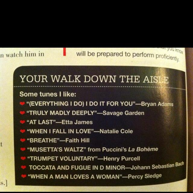 Walk Down The Aisle Music