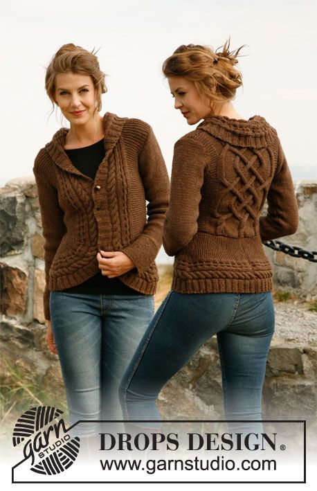 "Knitted DROPS jacket with rounded front pieces and cables in ""Alaska"". Size: S to XXXL. ~ DROPS Design"