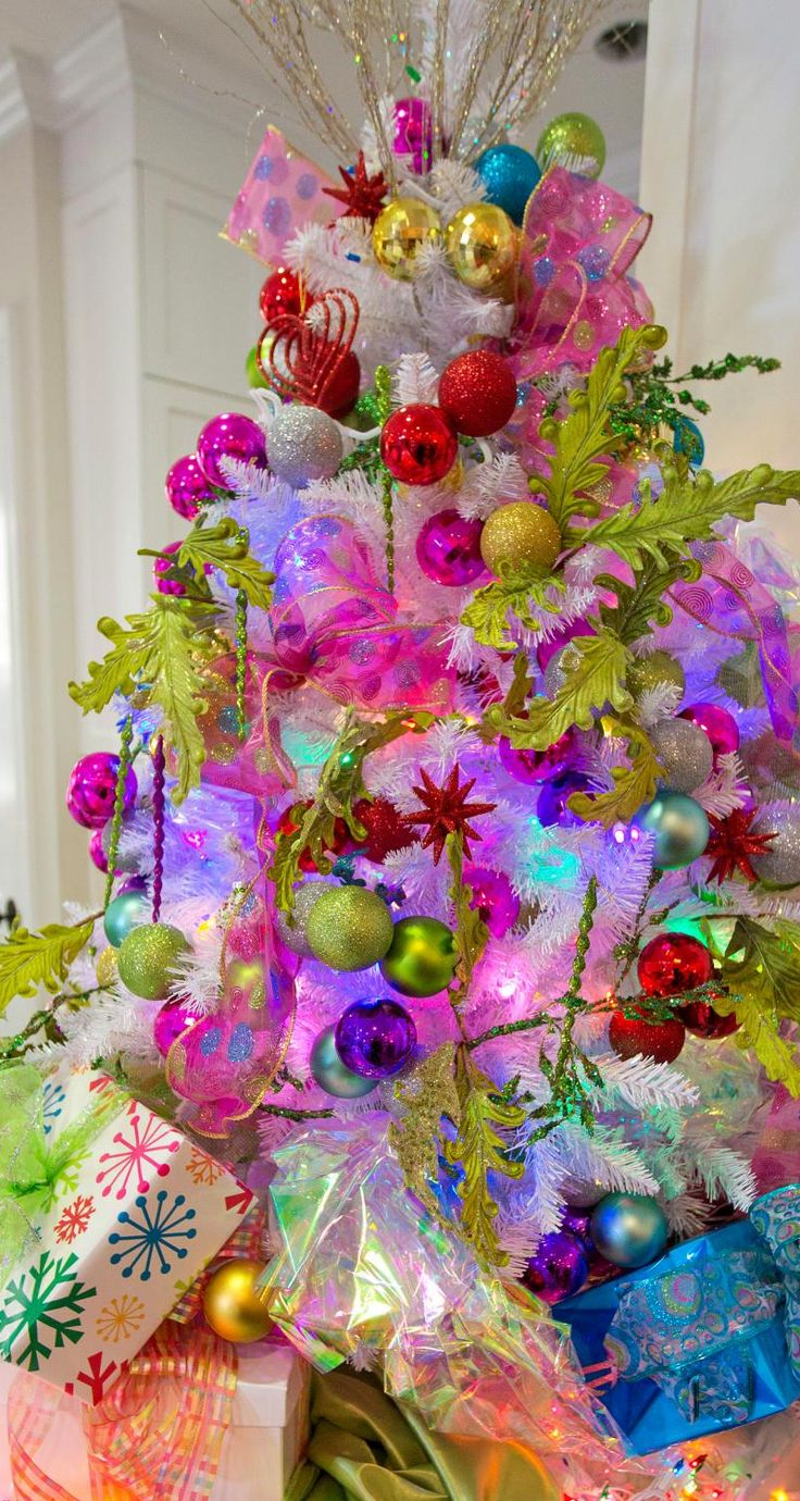 Blue and purple christmas tree decorations - Christmas Tree Iridescent White With A Playful Combo Of Chartruese Magenta Red And Bright Blue