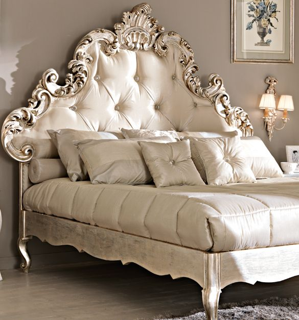 Rococo Tufted Silk Bed