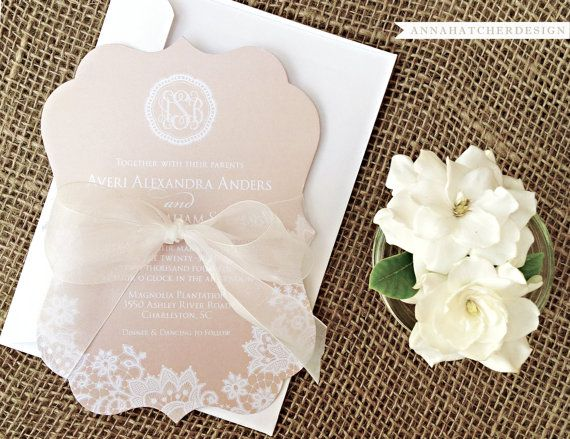 Ornate Die-Cut Lace Wedding Collection - Wedding Invitation, Response (Reply Card or Postcard), Enclosure (Accommodation or Reception) - Any Color - FAST & FREE SHIPPING - Shown in Champagne with White Lace on Metallic Pearl Paper - Order just invitation or invitation/reply only - Lots of great options!