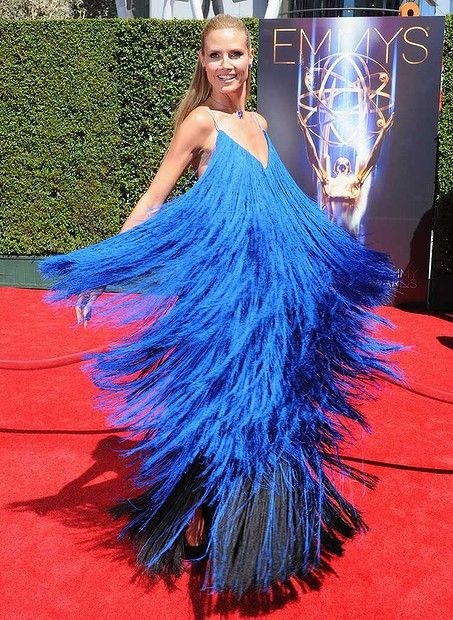 #HeidiKlum arrives at the 2014 Creative Arts Emmy Awards at Nokia Theatre L.A. Live on August 16, 2014 in Los Angeles, California.