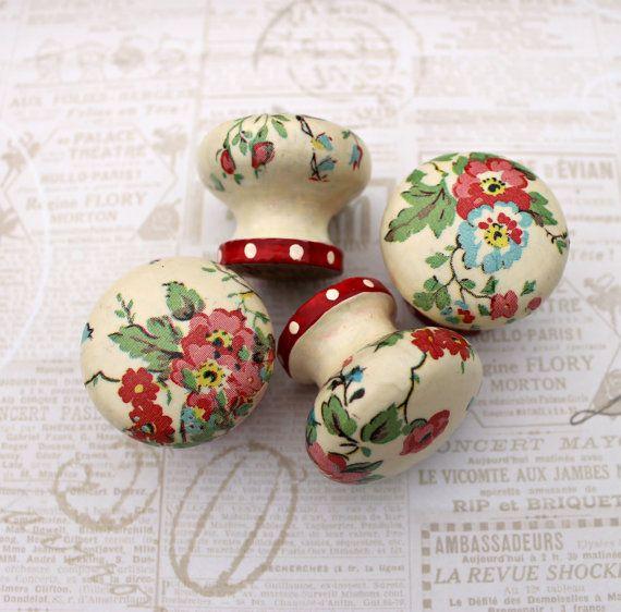 Wooden door knobs made with Cath Kidston bleach от witchcorner