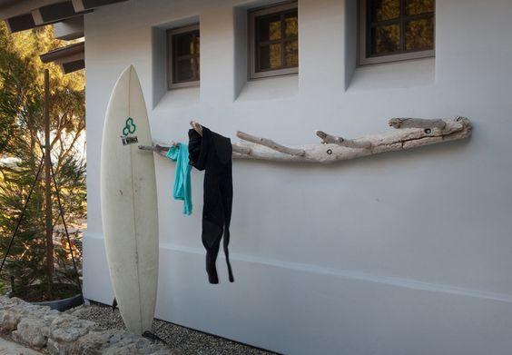 Driftwood surfboard rack: