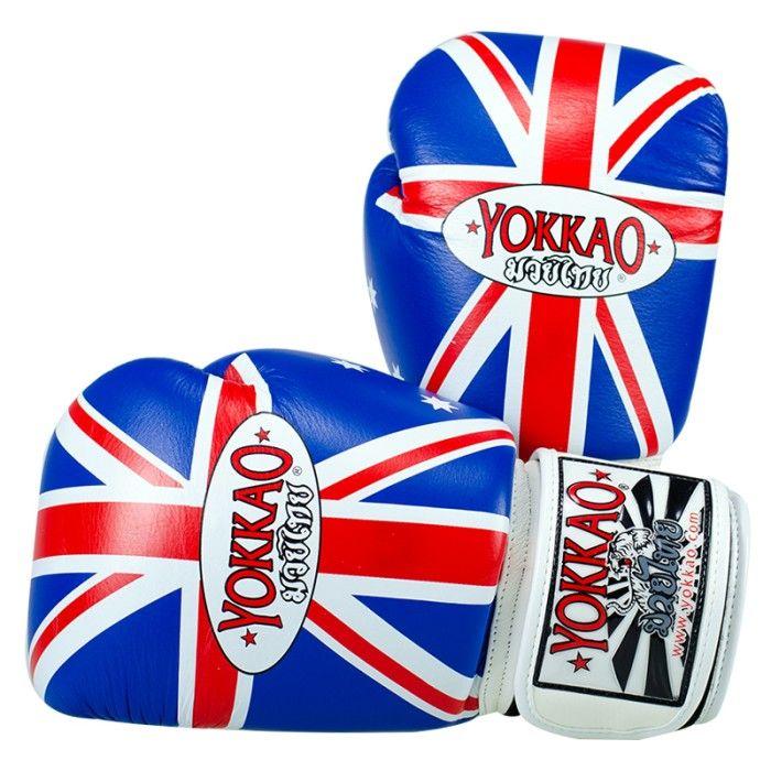 <ul>  <li>guanti Yokkao Muay Thai Boxe</li>  <li>in pelle bovina di alta qualità</li>  <li>modello di Australia Flag</li>  <li>Guanti ufficiali della SRG Yokkao Training Center a Sydney</li>  <li>Completamente a mano in Thailandia</li>  <li>Formato disponibile da 6 once a 18 once</li>  <li>chiusura in velcro è lo standard, pizzo Chiusura su richiesta</li> </ul> Per personalizzare il guantone sinistro con un massimo di 10 lettere acquistare l'apposito pacchetto dal costo di 7,...