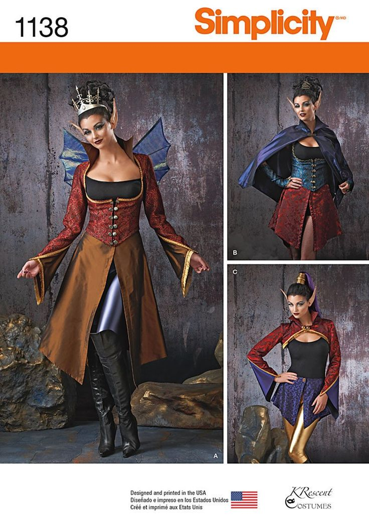 Simplicity Pattern: S1138 Misses' Dark Faeries Costumes — jaycotts.co.uk - Sewing Supplies