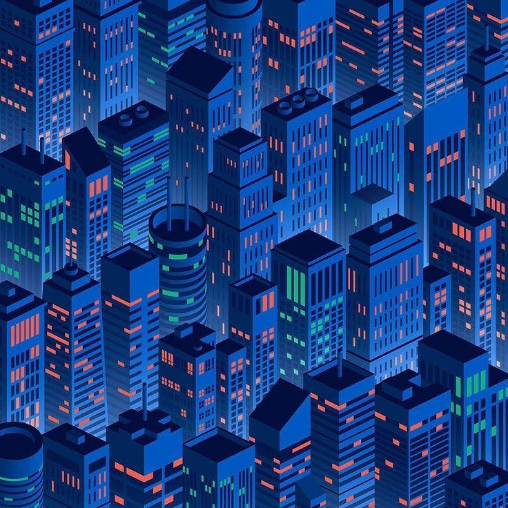 - c006427308ab5707f0a4da3b30b0e250 - A night in the city. An illustration by Rich Stromwall . . . . #pixelcart #night #city #nightcity #citylights #citylife…