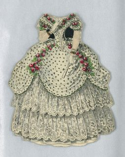 Print, Paper Doll Costume in White with Black Spots, 1876–80