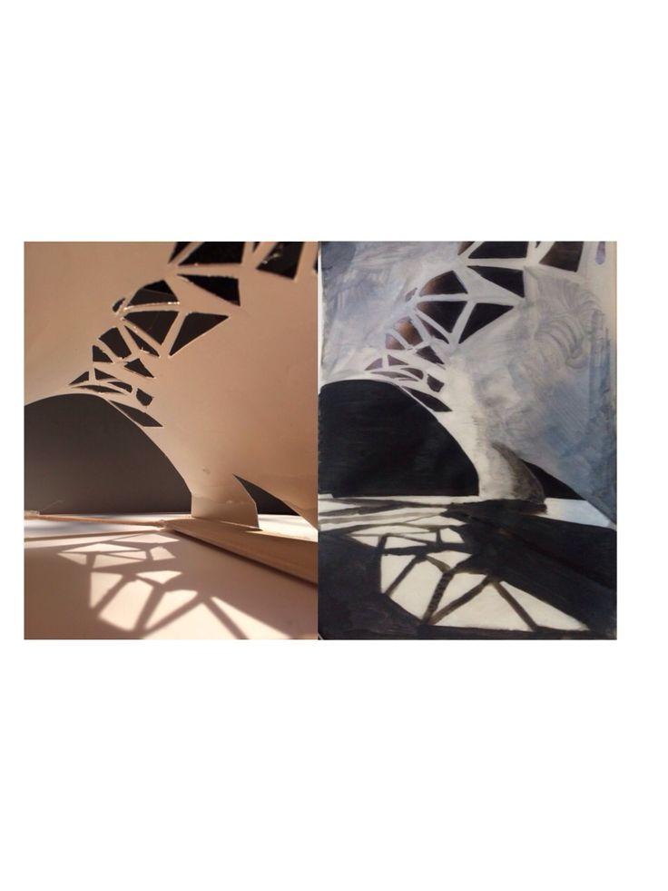 shadow, depth/value. materials: balsa wood, art paper.