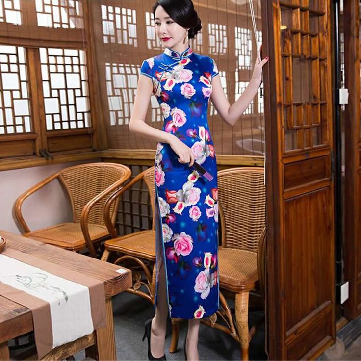 2016 New Blue Qipao Long Cheongsam Dress Chinese Silk Dress Sexy Chinese Dresses Chinese Traditional Dress Vestido Oriental #Affiliate