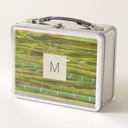 Closeup of bamboo stalk -  your monogram metal lunch box - original gifts diy cyo customize