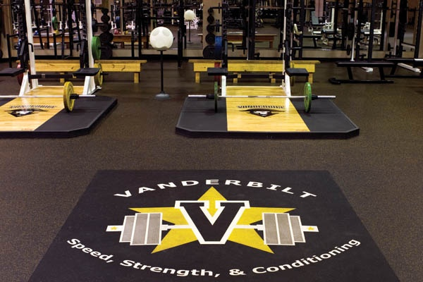 Vanderbilt University, TN.  Rubber Gym & Weight Room Flooring: Recycled & Sustainable Rubber Tiles & Gym Flooring   Reuse-A-Shoe & Nike Grind ECORE Commercial Flooring recycled rubber