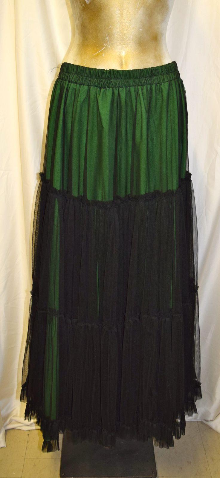 Black & Emerald Green Long Skirt