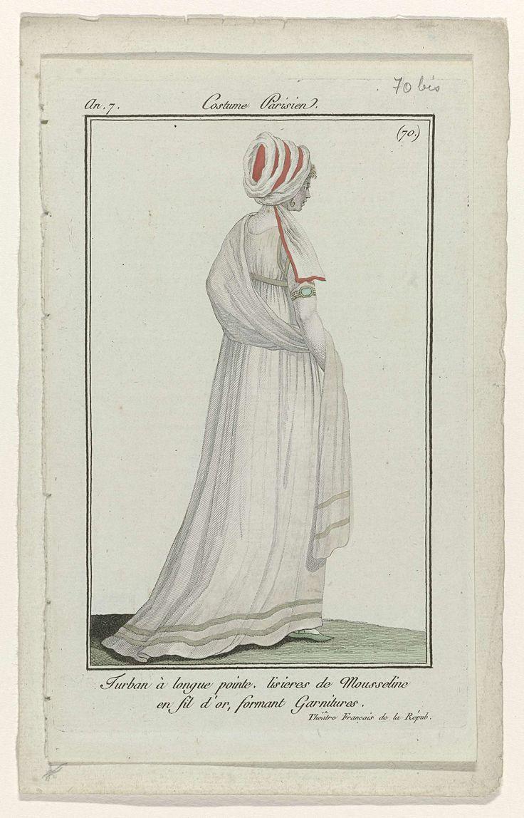 Journal des Dames et des Modes, Costume Parisien, 27 octobre 1798, An 7 (70 bis) : Turban à longue pointe..., Anonymous, 1798