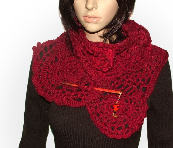 This ruby red freeform lace scarf was crocheted with no pattern in mind so it's a gorgeous meandering of textures. I used an assortment of red $79,91