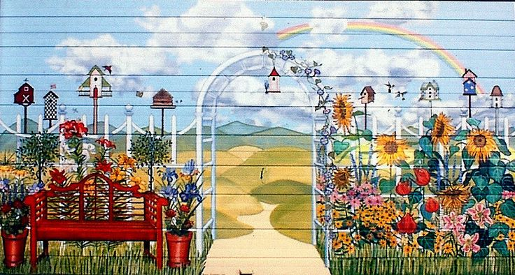 Garage Scene Murals | Country Garden Garage Door Mural For Backyard Of home In Baldwin, New ...