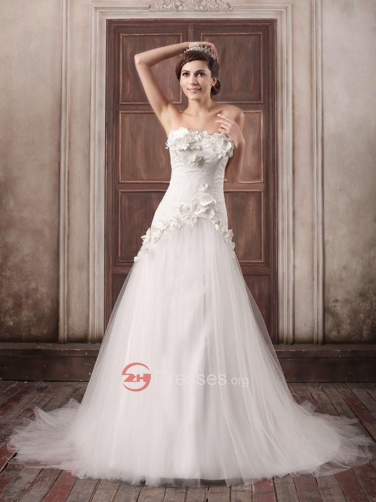 najlepší bez ramienok kvetín a perla predstavoval tylu cez saténové svadobné šaty predaj - Svatebnisaty2014.eu