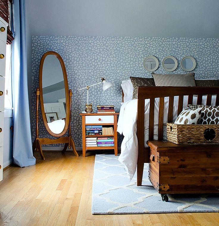 Home Tour Blue Brown Bedroomsstenciled