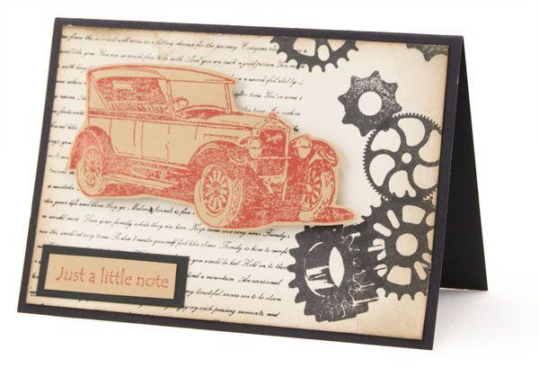 Male Card, vintage, Kaszazz, Distressed Inks