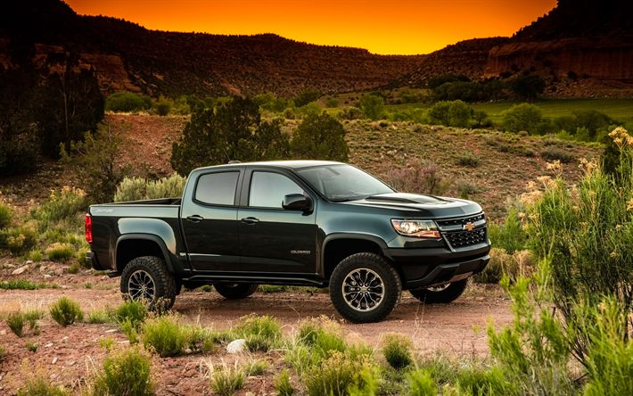 Download wallpapers Chevrolet Colorado ZR2, 2018, black SUV, desert, new cars, pickup, new Colorado ZR2, American cars, Chevrolet