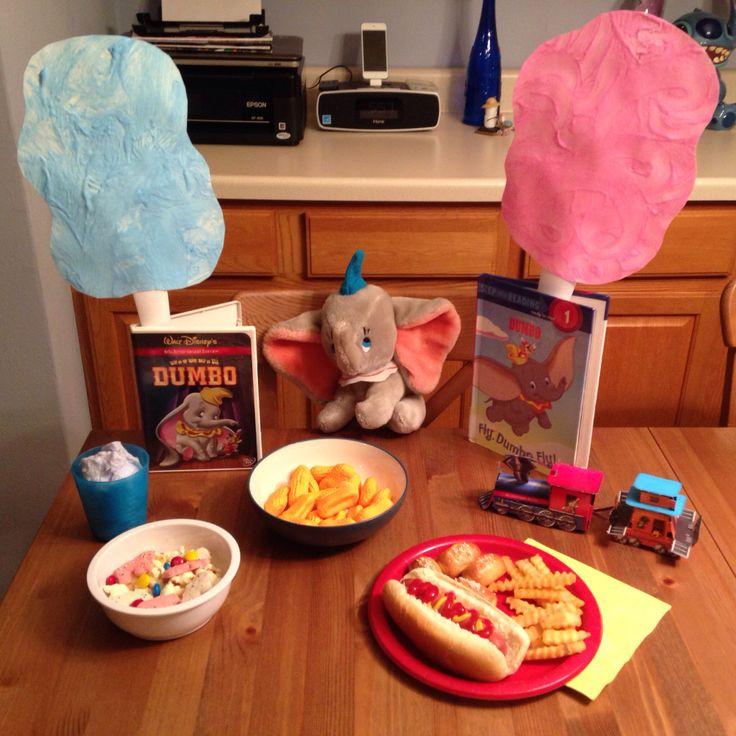 Dumbo Movie Night Dinner - Disney Movie Night Dinner - Hot Dogs, Fries, Soft Pretzel Bites, Circus Peanuts, Cotton Candy and a Snack Mix (popcorn, frosted animal crackers and m&ms - Family Movie Night