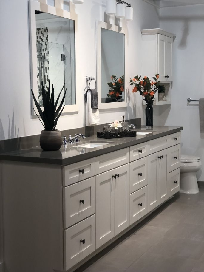 26++ White bathroom cabinets with grey countertops ideas