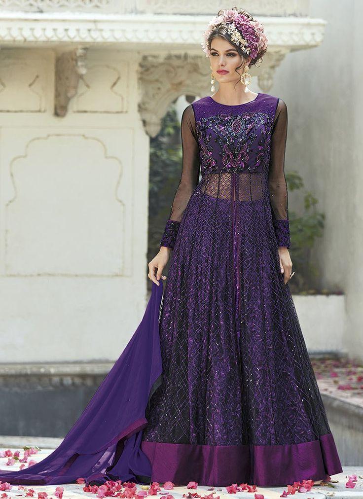 Violet Art Silk Net Umbrella Anarkali Lehenga