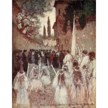 Florence & some Tuscan Cities 1905 Feast of Corpus Christi Canvas Art - RC Goff (24 x 36)