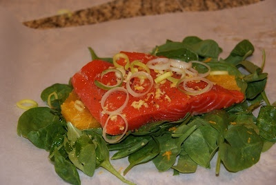 Orange Ginger Salmon Spinach Parchment Packets - Everyday Food food ...
