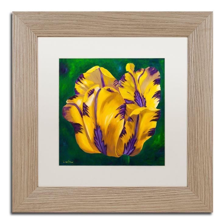 Lily van Bienen 'Yellow Virus Tulip' Matted Framed Art