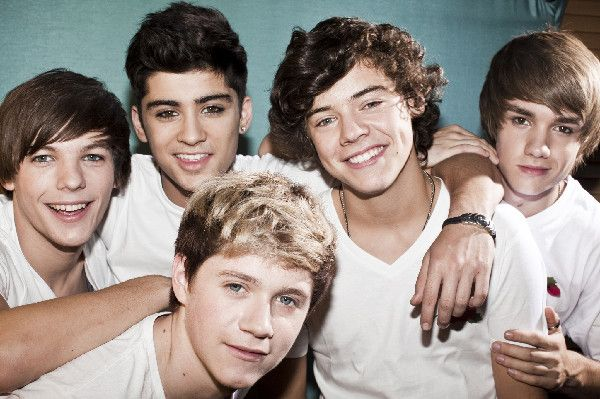 One Direction!! From the left: Louis Tomlinson, Zayn Malik, Harry Styles, Liam Payne and Niall Horan on the bottom there.